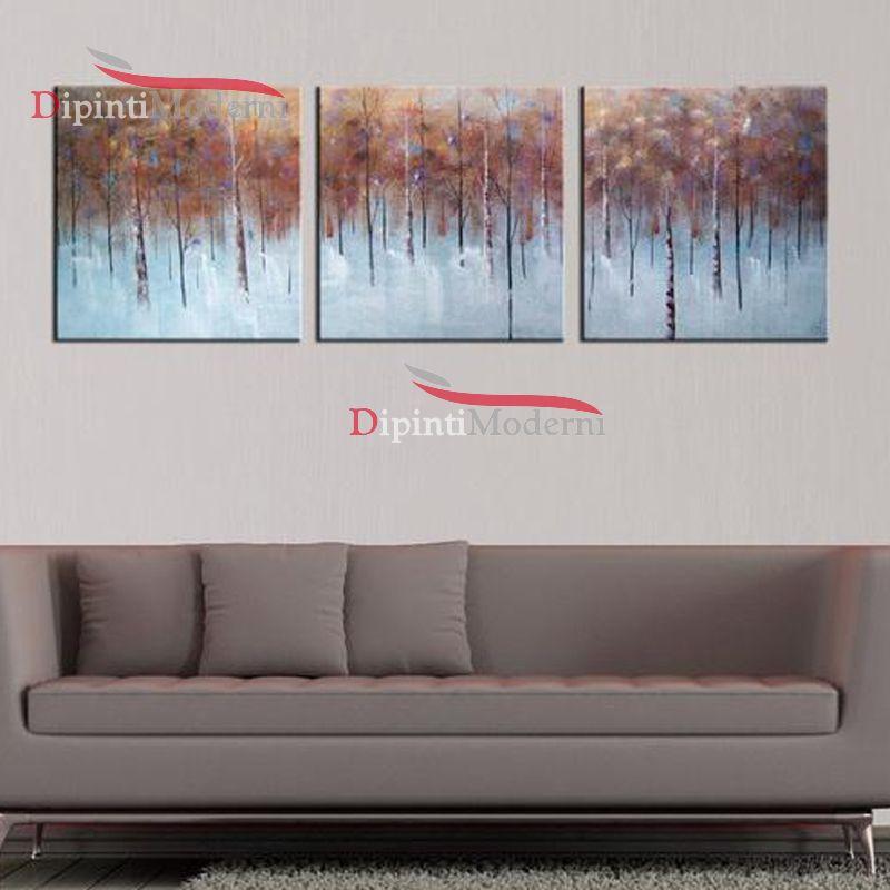 Quadri salotto divano moderno dipinti a mano foresta for Quadri salotto