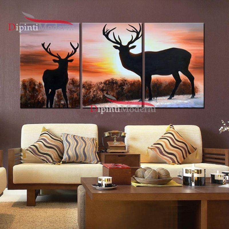 Quadri tramonto cervi dipinti a mano su tela dipinti moderni for Dipinti a mano su tela