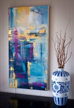 Quadro astratto dipinto a mano azzurro giallo e viola