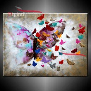 Quadri moderni con farfalle dipinto a mano