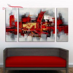 Dipinti moderni rosso grigio su tela
