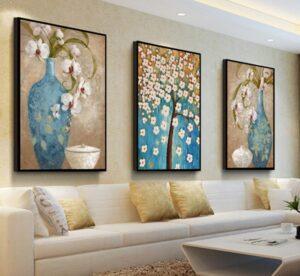 Dipinti moderni vasi azzurri fiori