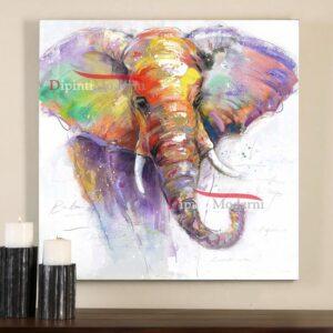 Quadri moderni elefante colorato astratto