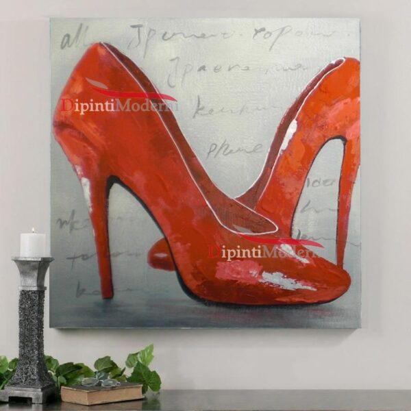 Quadri moderni scarpe rosse donna dipinti a mano