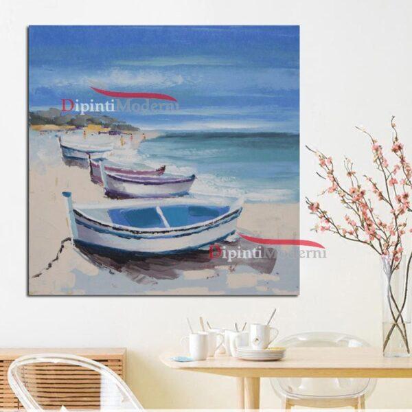 Dipinto a mano barche mare pesca sulla spiaggia
