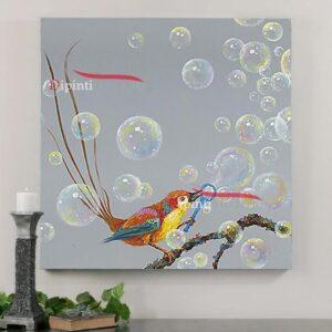 Quadri astratti moderni uccellino bolle di sapone