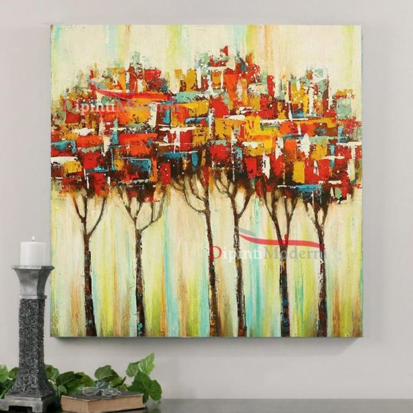 Quadro moderno con alberi rossi spatolati